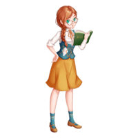 anime cartoon of woman looking at a book