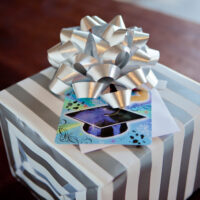 gift with graduation card on it