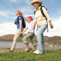 Mothers and daughters walking