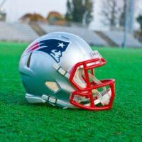 new england patriots helmet on turf