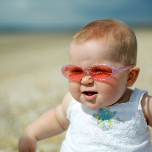 one year old girl with sunglasses