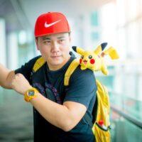 Guy playing pokemon