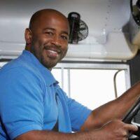 UPS Driver behind the wheel